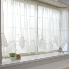 出窓用カーテン スタイルレース /トリコット/フリル付Wスカラップ/サイズ:幅400×丈115cm[最長部]