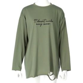ANAP ヘムクラッシュカットオフロングTシャツ(カーキ)