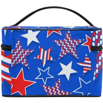 ユキオ(UKIO) メイクポーチ 大容量 シンプル かわいい 持ち運び 旅行 化粧ポーチ コスメバッグ 化粧品 星柄 青い 赤い レディース 収納ケース ポーチ 収納ボックス 化粧箱 メイクバッグ