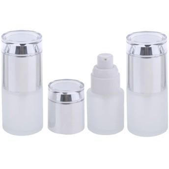 3個 スプレーボトル ポンプボトル コスメ 詰替え容器 ガラス瓶 20ミリリットル 3色2タイプ選べ - シルバー2