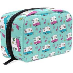 キャンピングカー 化粧品袋 ジッパーと繊細な印刷パターン付き 列車 旅行 荷物梱包用 女の子へのプレゼント Happy Camper