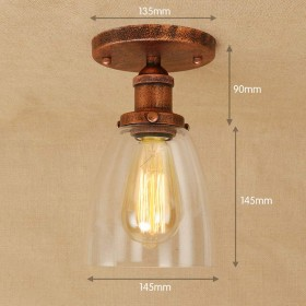 Xwyun レトロなノスタルジックな錬鉄製の天井ランプ 現代的なミニマリストLED天井照明、創造的なガラスのランプシェード アメリカの廊下 階段装飾的な壁ランプE27 (D)