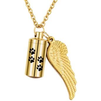[HOUSWEETY] 遺骨ペンダント 防水 ペット メモリアルペンダント ネックレス キーホルダー 両用 ステンレス レディース メンズ ジュエリー 天使の翼 肉球 ゴールド-2.7cmx1.1cm