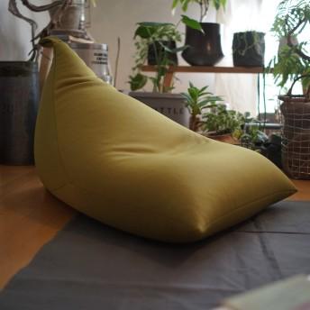 むにゅぽよ感触がたまらないビーズクッション Pyram 三角型 日本製 [グリーン] ビーズ ソファー