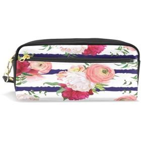 ALAZA ピンク ローズ ストライプ 鉛筆 ケース ジッパー Pu 革製 ペン バッグ 化粧品 化粧 バッグ ペン 文房具 ポーチ バッグ 大容量
