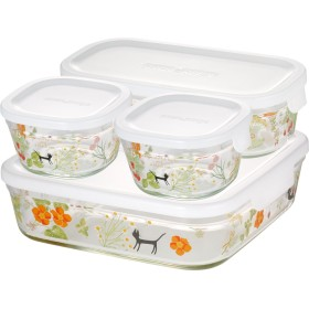 iwaki(イワキ) 耐熱 ガラス 保存容器 角型 パック&レンジ 4点セット シンジカトウ - colorful herbs 200ml×2個、500ml×1個、1.2L×1個 PS-PRNSNB4