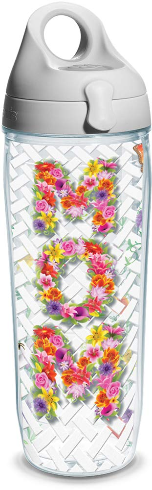 Tervis 1322047 INITIAL-K Multicolored Scallop Insulated Travel Tumbler with Wrap and Passion Pink Lid 24oz Water Bottle Tritan Clear