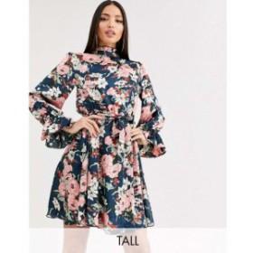 ミスガイデッド Missguided Tall レディース ワンピース ワンピース・ドレス tie waist smock dress in floral print マルチカラー