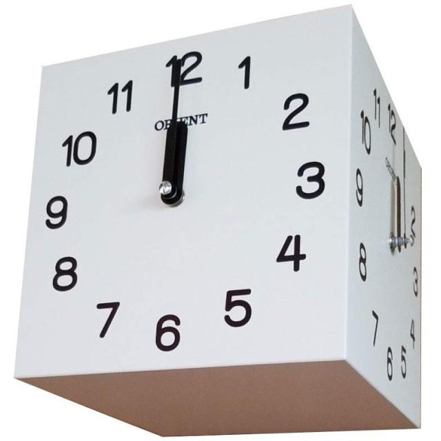 天然木三面時計 両面壁掛け時計 おしゃれな 低騷音 インテリア 両面壁掛け時計-white