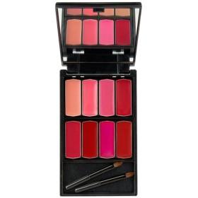 8色入 口紅 リップクリーム 化粧パレット メイクアップ 化粧鏡 ミラー メイクアップブラシ付 便利 - #1
