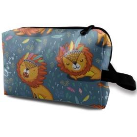 インディアンス ライオン 獅子 化粧バッグ 収納袋 女大容量 化粧品クラッチバッグ 収納 軽量 ウィンドジップ