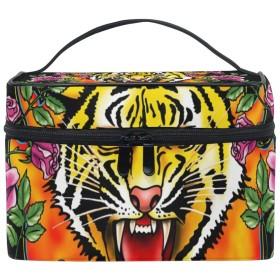 化粧ポーチ 虎 タイガー 大容量 かわいい おしゃれ 機能的 バニティポーチ 収納ケース ポーチ メイクポーチ ボックス 小物入れ 仕切り 旅行 出張 持ち運び便利 コンパクト