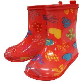 子供用長靴 キッズ レインシューズ レインブーツ 長靴 女の子長靴 マーブルライン -りぼん/ピンク/16cm
