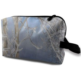冬のアイスツリーの鳥の森 ポーチ 旅行 化粧ポーチ 防水 収納ポーチ コスメポーチ 軽量 トラベルポーチ25cm×16cm×12cm
