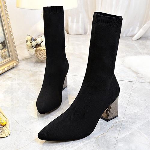 短靴彈性布料尖頭粗跟包鞋