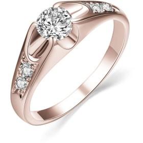 GOMYIE カップルの結婚抵抗力のあるインナーサークルデザインの結婚指輪(ローズゴールドサイズ6)のためのラウンドカットクリスタルストーンリング