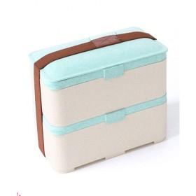 Muziのランチボックス、小麦繊維の学生の弁当箱、二重の弁当箱は、電子レンジで加熱することができます、スプーンの箸、緑、高品質 (Color : Blue)