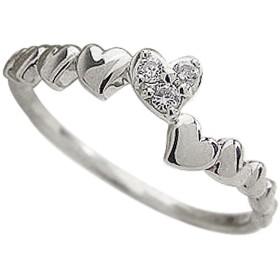 [ジュエリーアイ] ピンキーリング ハート ダイヤモンド リング ダイヤリング ハートの指輪 ホワイトゴールドK10 K10WG 6号