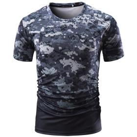 TAALESET メンズ半袖Tシャツ迷彩青年ラウンドTシャツ4色アウトドアスポーツTシャツ (色 : グレー, サイズ : XXXL)