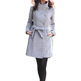 Tootess Women's Fall Winter Single Breasted Fit Mid-long Belt Long Trench Coat Grey XS