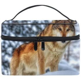 狼コスメポーチ 化粧収納バッグ レディース 携帯便利 旅行 誕生日 プレゼント