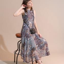 【PANGCHI 龐吉】飄逸大圓襬水墨感印花洋裝1928001-71/72/73