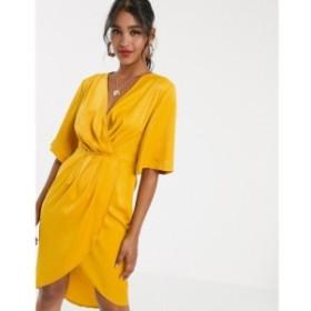 ユニーク21 UNIQUE21 レディース ワンピース ラップドレス ミドル丈 ワンピース・ドレス Unique21 luxe stain pleated wrap midi dress