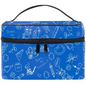 漫画ブルー収納バッグ コスメポーチ 化粧ポーチ 洗面用具入れ トラベルポーチ 旅行 出張 収納 コスメバッグ コンパクト 超軽量