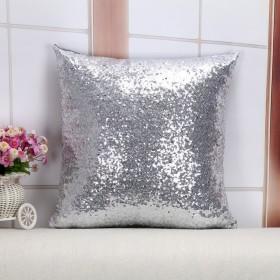 Senrn装飾的な枕[枕のケースを投げる]最高のスパンコールホーム装飾的な枕カバーサファピロースクエアのクッションカバー16インチの枕カバー - シルバー [並行輸入品]