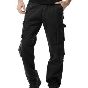 カーゴパンツ メンズ ワークパンツ ゆったり 作業用 ズボン ミリタリー 8ポケット カジュアル チノパン フィッシング用ボトムス 秋36ブラック