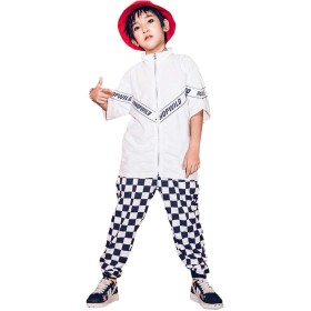 キッズ ダンス衣装 ダンス 衣装 ヒップホップ トップス チェックパンツ セットアップ 原宿系 ゆったり ガールズ 女の子 オシャレ jazz hiphop ダンスウェア 子供服 演出服 2点セット ストリート セール (150,パンツだけ)