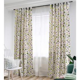 花柄プリント 断熱 停電 カーテン, 綿とリネンの生地 デジタル印刷が付いているカーテンを暗くなるソフトの部屋, ベッドルームに最適-B W140xH200cm