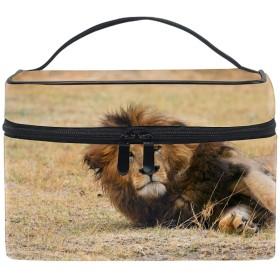 便携式野生のライオン メイクボックス 收納抜群 大容量 可愛い 化粧バッグ 旅行