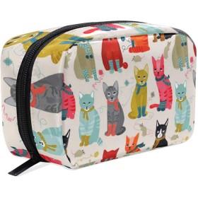 カラフル 猫 化粧ポーチ メイクポーチ 機能的 大容量 化粧品収納 小物入れ 普段使い 出張 旅行 メイク ブラシ バッグ 化粧バッグ