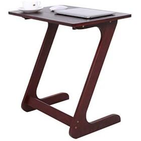 Bathwa Zのサイドテーブルの机のラップトップのテーブルの移動式コーヒーテーブルのコーヒー軽食のための小さいサイドテーブル竹製のテーブル組み立てやすい