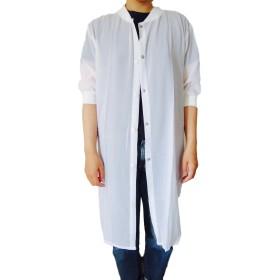 レディース 羽織り ロング 丸首 カーディガン おおきいサイズ 薄手 シフォン 白 色 ホワイト カラー ブランド ゆったり 体型カバー 妊婦 さん オフィス シンプル 無地 柄 なし xl (05 : ホワイト 無地 XL)