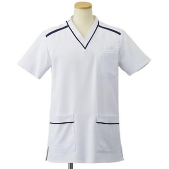 ナースウェア オンワード 女性用スクラブ HS-8011 ホワイト ネイビー EL/BL