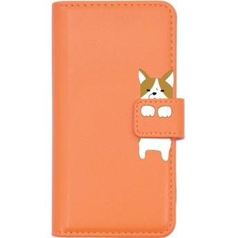 PLATA スマホケース iPhone6 iPhone6s iPhone7 iPhone8 手帳型ケース ■ いぬ × パステルオレンジ