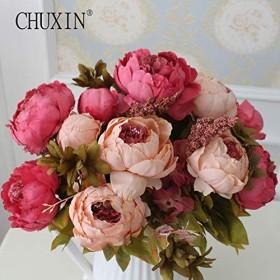 造花 シルクフラワー ピンク 大輪 アンティーク風 牡丹 芍薬 バラ アートフラワー ブーケ 花束 アレンジメントにも プレゼント