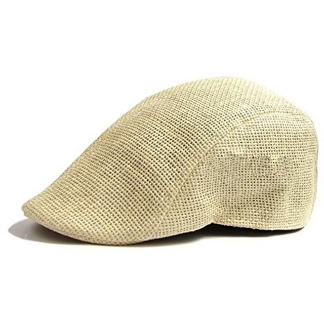 ハンチング 帽子 メッシュ 麦わら 通気性 (ベージュ)