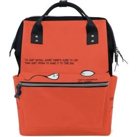LALATOP おかしい背景プリント おむつ バックパック 旅行用 ママおむつバッグ 大容量 多機能 スタイリッシュ 耐久性 看護バッグ Lサイズ マルチカラー