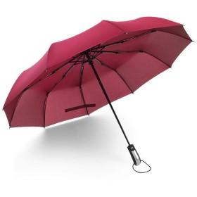 BENEDENT 折りたたみ傘 日傘 晴雨兼用 大きいサイズ 軽量 ワンタッチ 自動開閉 撥水 雨傘 耐風 頑丈 男女兼用 しっかり 収納ケース付き ブラック 梅雨対策 遮光 ビジネス カジュアル 通勤 通学 ファッション おしゃれ (レッド)