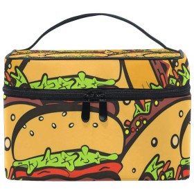 メイクポーチ ハンバーガー 食べ物 化粧ポーチ 化粧箱 バニティポーチ コスメポーチ 化粧品 収納 雑貨 小物入れ 女性 超軽量 機能的 大容量