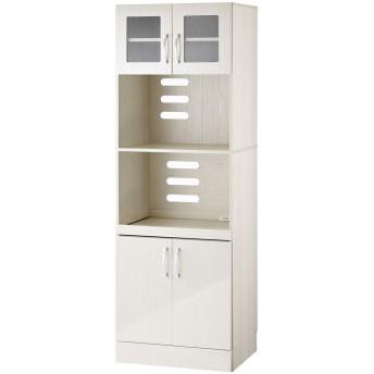ぼん家具 【完成品】 キッチンキャビネット レンジボード 食器棚 カップボード ホワイト