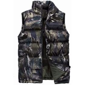 [eleitchtee] イニシャルジー ダウンベスト 迷彩ダウンベスト メンズ中綿ベスト 袖なしジャケット 大きいサイズ 028-jyd-10086(5XL 迷彩カーキ)