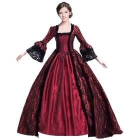 starvcos レディース ロング ドレス 中世風 ワンピース 長袖 貴族 ドレス パーティー 大人用 XXXL