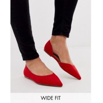 エイソス ASOS DESIGN レディース スリッポン・フラット シューズ・靴 Wide Fit Virtue dorsay pointed ballet flats in red レッド