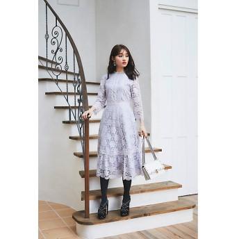 <Lily Lulu/リリー ルル> 大きいサイズ 総レースワンピース アイスグレー(140)【三越・伊勢丹/公式】