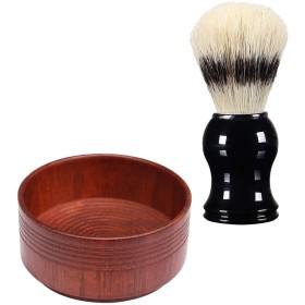 全3スタイル シェービングブラシセット シェービングボウル メンズ用 理容 洗顔 髭剃り プレゼント - 03, 説明のとおり