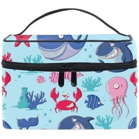 コスメポーチ 化粧品収納バッグ 洗面用具 おしゃれCute Sea Animals